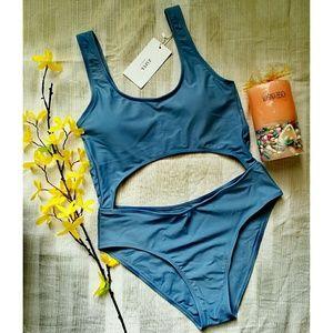 NWT Blue Zaful cut out monokini swimsuit size S